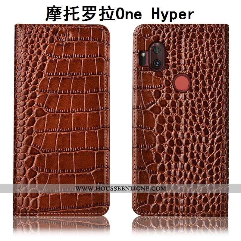 Étui Motorola One Hyper Protection Cuir Véritable Housse Crocodile Téléphone Portable Incassable Coq
