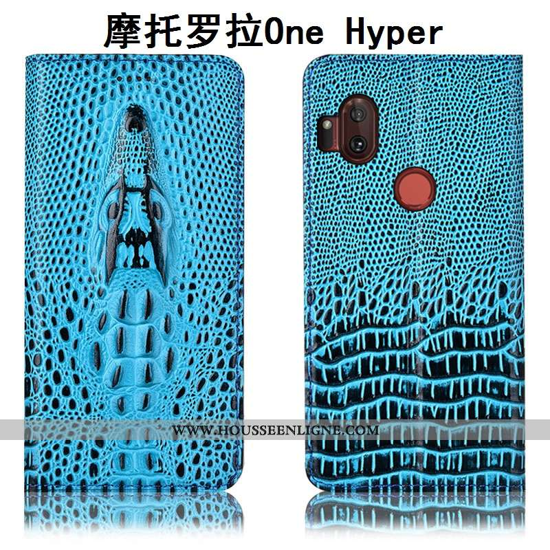 Étui Motorola One Hyper Protection Cuir Véritable Incassable Bleu Crocodile Housse