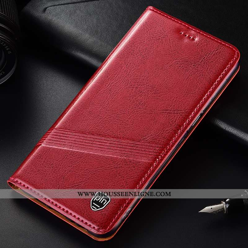 Étui Motorola One Vision Cuir Véritable Protection Téléphone Portable Coque Tout Compris Rouge