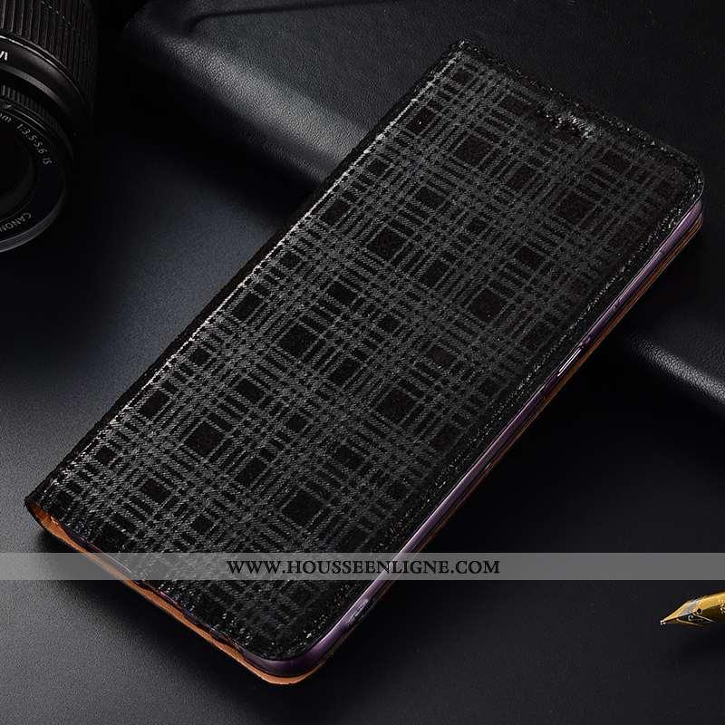 Étui Motorola One Vision Cuir Véritable Protection Téléphone Portable Velours Noir Incassable
