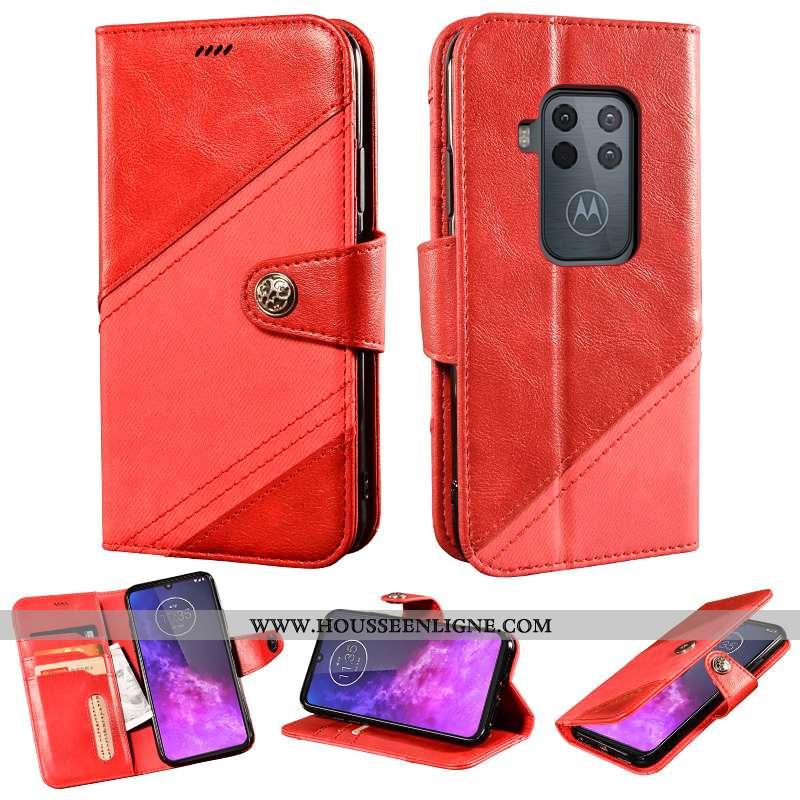 Étui Motorola One Zoom Protection Cuir Coque Rouge Téléphone Portable Incassable Support