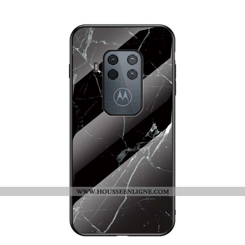 Étui Motorola One Zoom Protection Tendance Net Rouge Difficile Grand Noir Coque