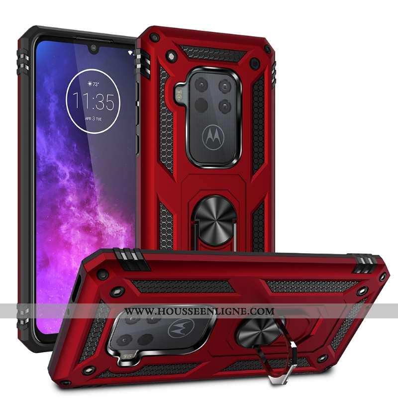 Étui Motorola One Zoom Rouge Difficile À Bord Support Incassable Magnétisme Téléphone Portable