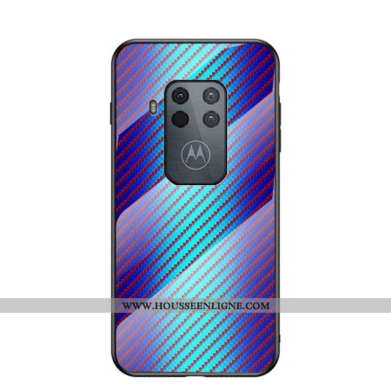 Étui Motorola One Zoom Verre Tendance Luxe Violet Fluide Doux Protection Coque