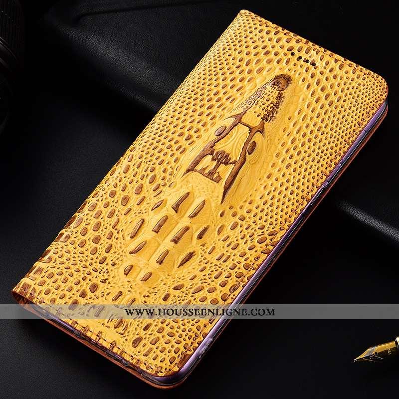 Étui Nokia 1 Plus Cuir Véritable Protection Coque Crocodile Téléphone Portable Jaune