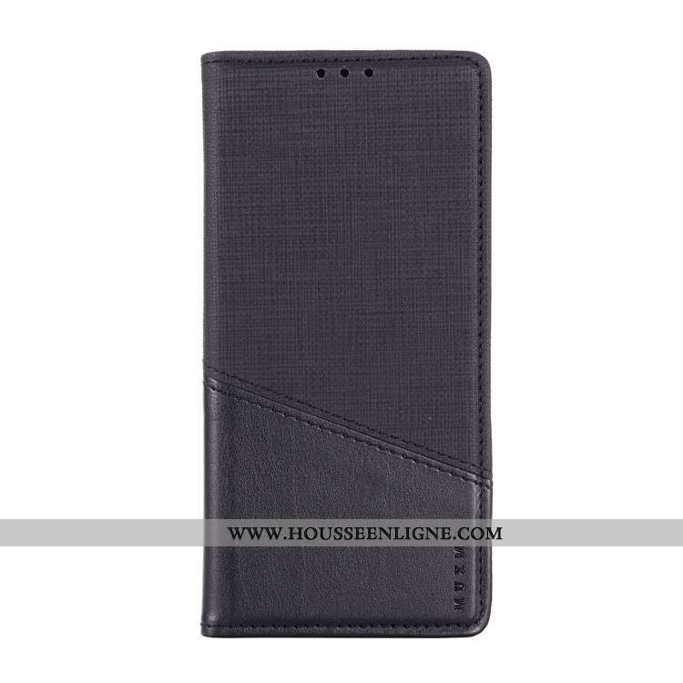 Étui Nokia 2.2 Cuir Clamshell Toile Carte Noir Coque