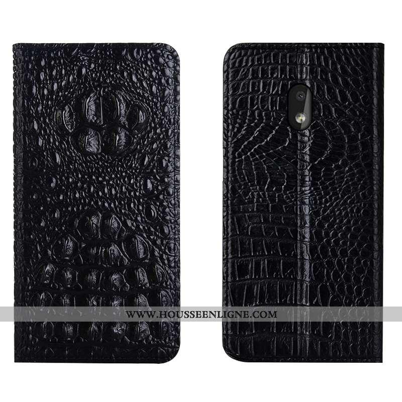 Étui Nokia 2.2 Cuir Véritable Protection Téléphone Portable Housse Incassable Coque Noir