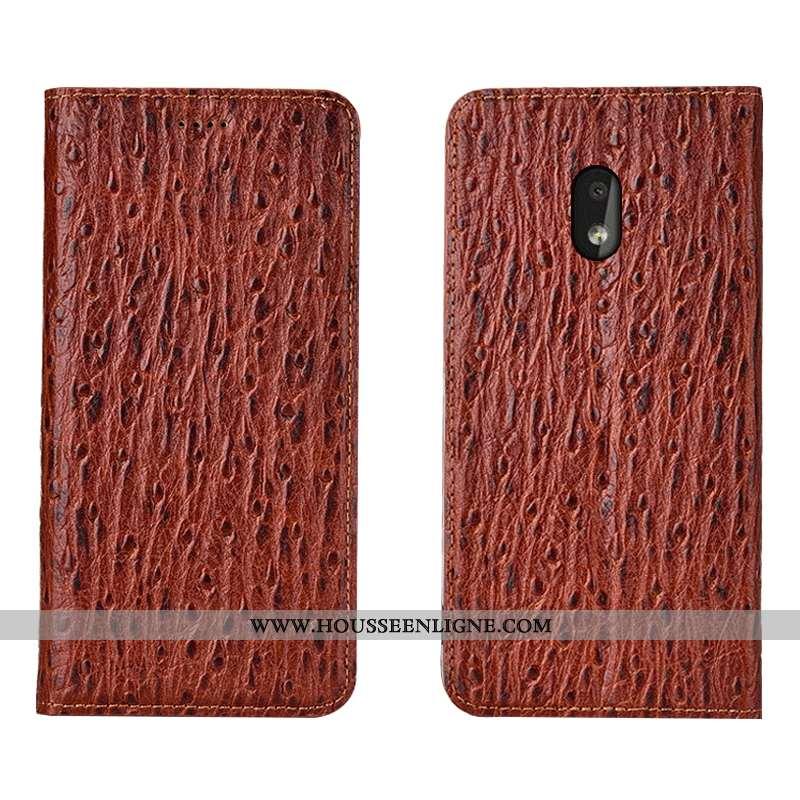 Étui Nokia 2.2 Modèle Fleurie Protection Housse Coque Marron Cuir Véritable