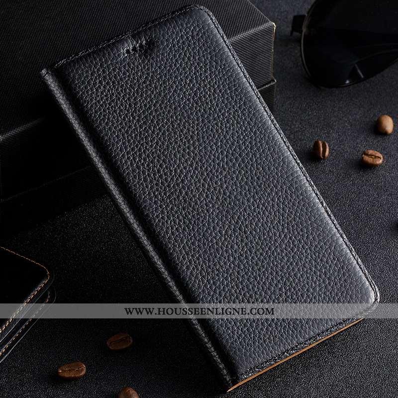 Étui Nokia 3.1 Cuir Véritable Protection Noir Coque Téléphone Portable Litchi