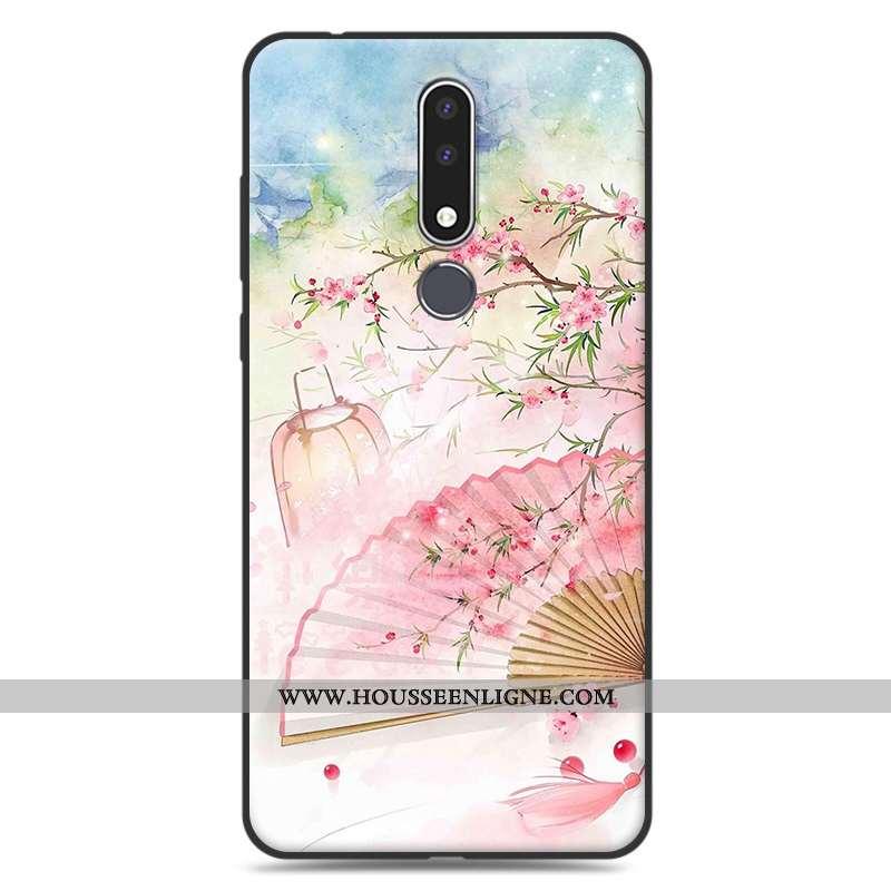Étui Nokia 3.1 Plus Silicone Protection Fluide Doux Art Rose Simple Délavé En Daim