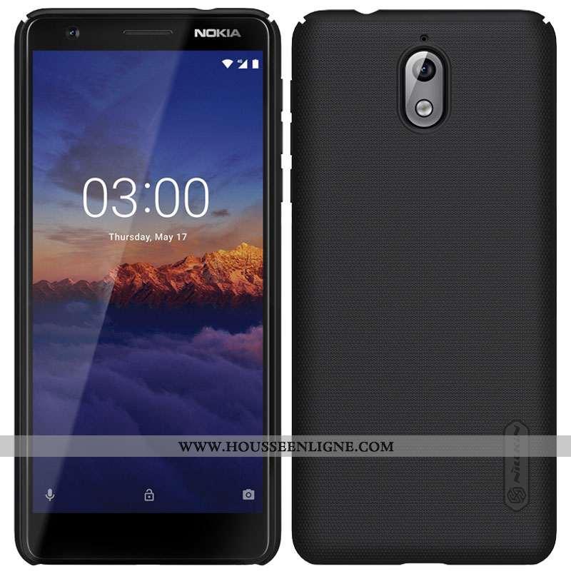 Étui Nokia 3.1 Protection Délavé En Daim Noir Or Difficile Incassable