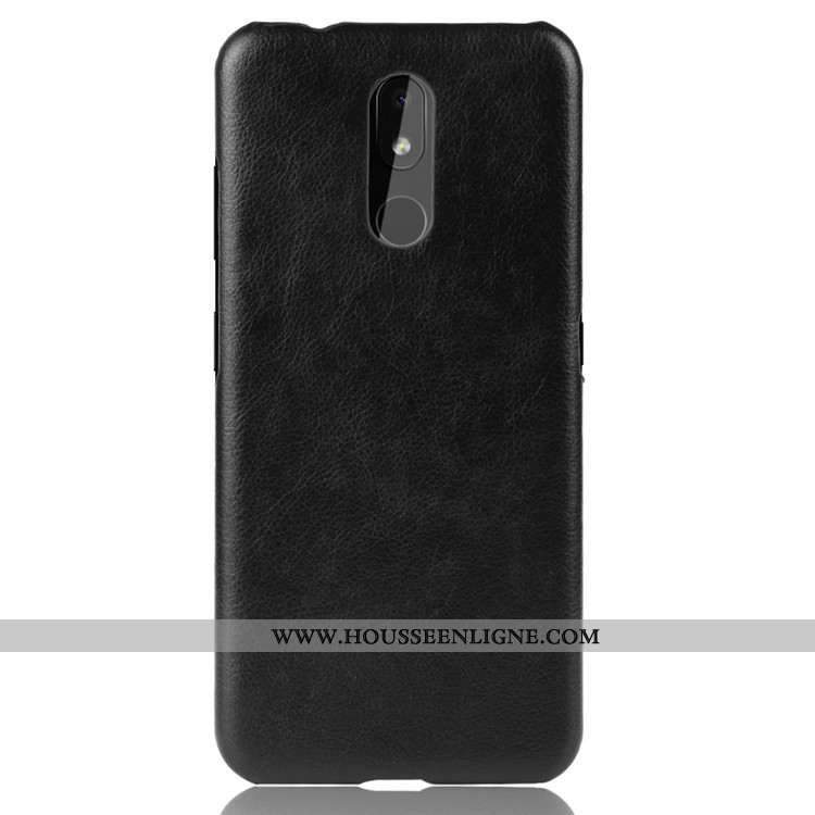 Étui Nokia 3.2 Modèle Fleurie Protection Noir Difficile Litchi Tendance