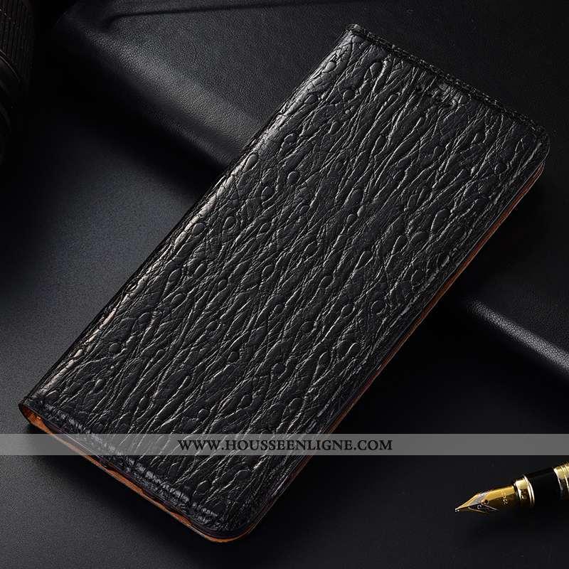 Étui Nokia 4.2 Cuir Véritable Protection Téléphone Portable Oiseau Noir Housse Coque