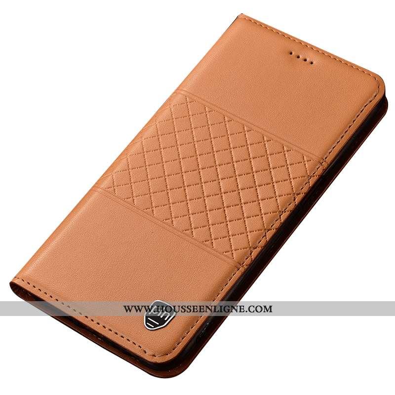 Étui Nokia 5.1 Cuir Véritable Protection Téléphone Portable Plaid Jaune Coque