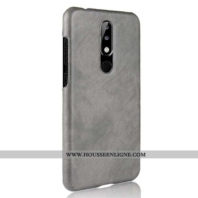Étui Nokia 5.1 Plus Cuir Modèle Fleurie Protection Difficile Gris Téléphone Portable