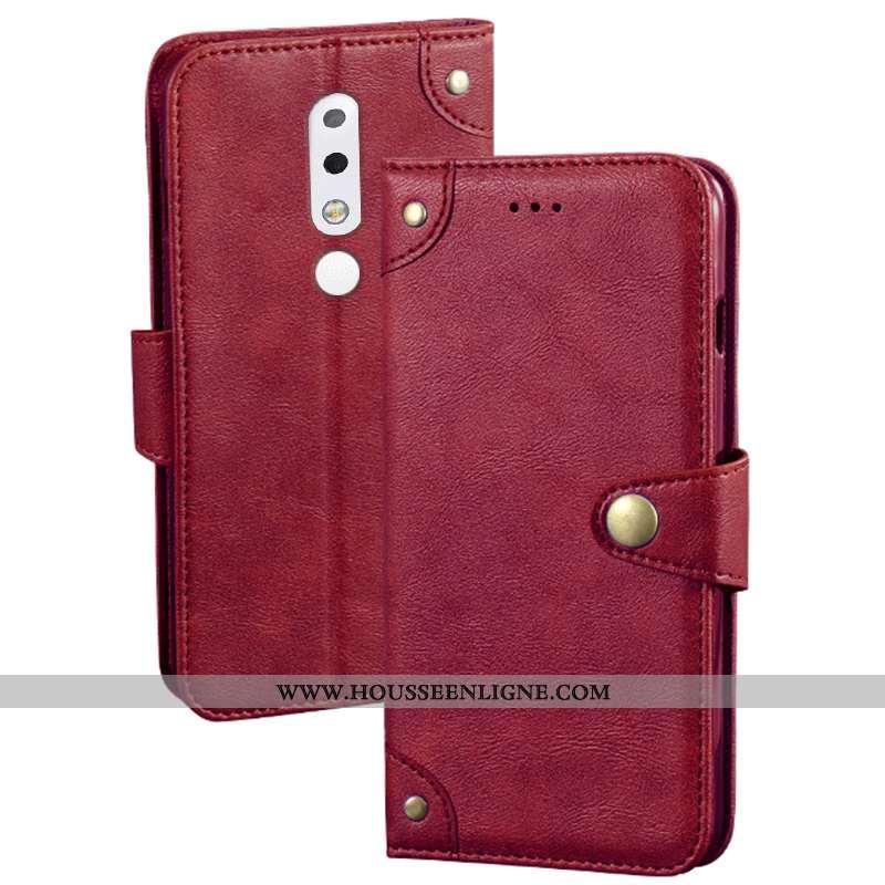 Étui Nokia 5.1 Plus Cuir Protection Portefeuille Housse Rouge Téléphone Portable