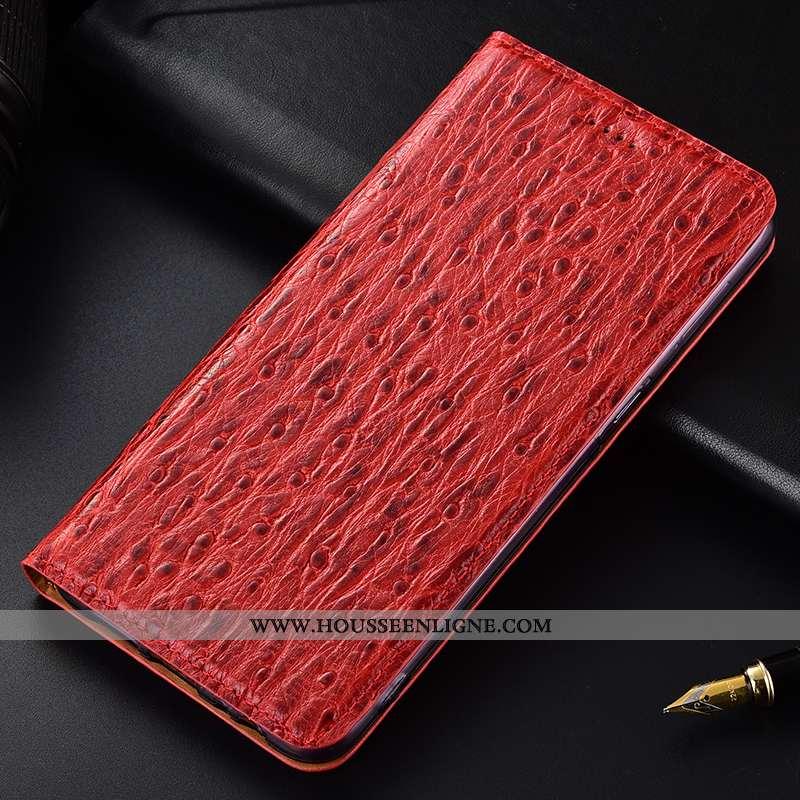 Étui Nokia 5.1 Plus Cuir Véritable Modèle Fleurie Rouge Housse Coque Incassable
