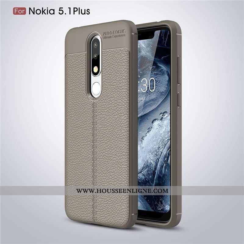 Étui Nokia 5.1 Plus Modèle Fleurie Fluide Doux Téléphone Portable Gris Coque Protection