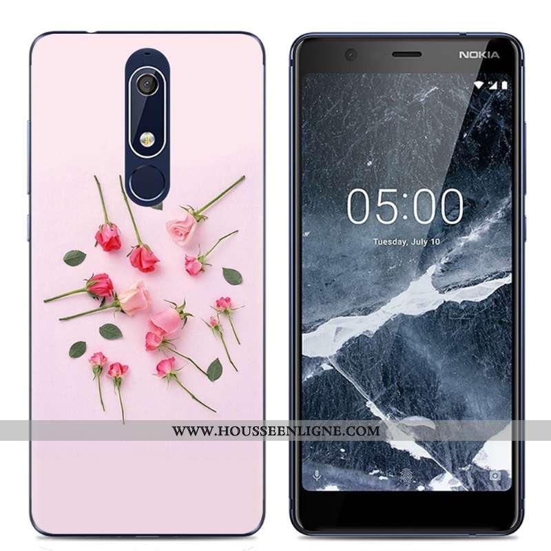 Étui Nokia 5.1 Protection Transparent Rose Coque Dessin Animé Téléphone Portable Simple