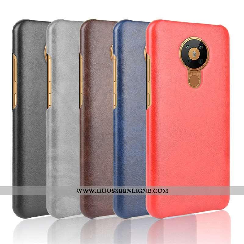 Étui Nokia 5.3 Cuir Modèle Fleurie Protection Litchi Légères Qualité Rouge