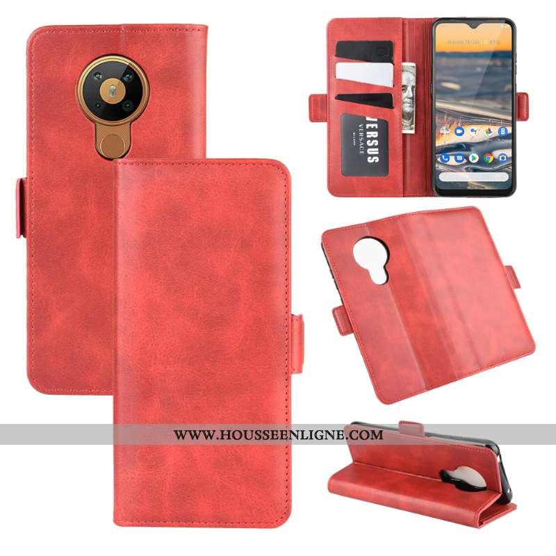 Étui Nokia 5.3 Cuir Modèle Fleurie Téléphone Portable Protection Clamshell Une Agrafe Rouge