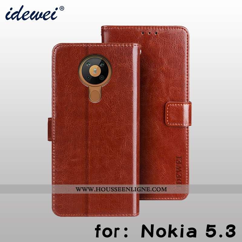 Étui Nokia 5.3 Cuir Protection Téléphone Portable Carte Portefeuille Housse Marron