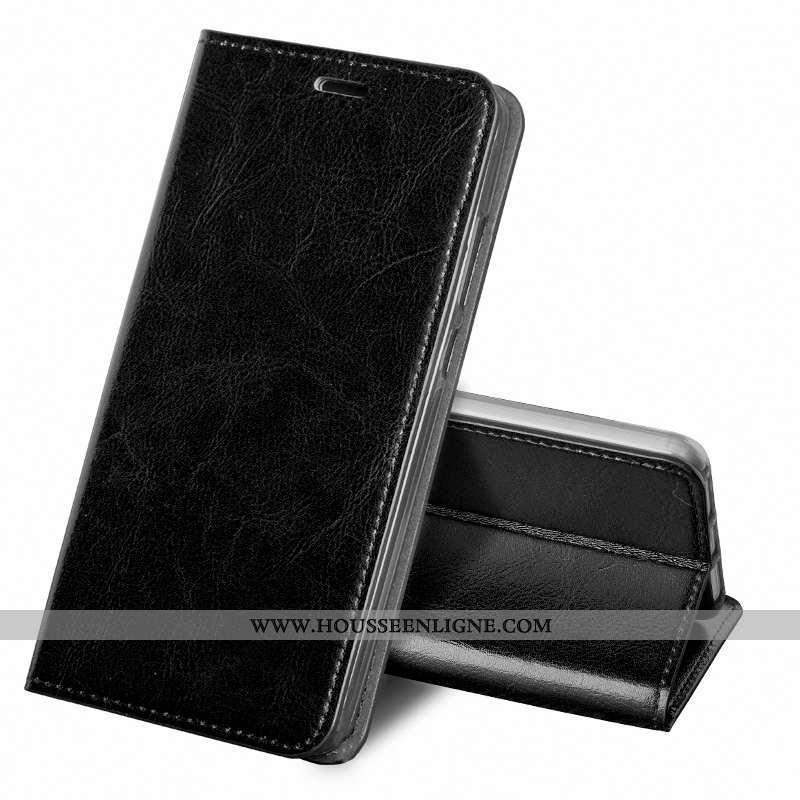 Étui Nokia 6.1 Cuir Véritable Vintage Business Noir Coque Protection Housse