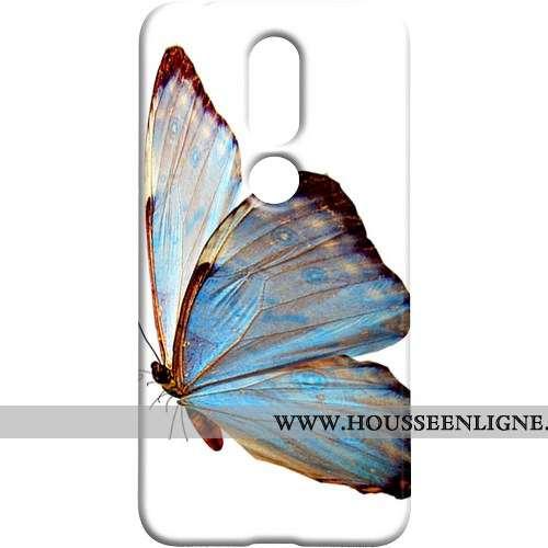 Étui Nokia 7.1 Délavé En Daim Protection Frais Coque Téléphone Portable Bleu Papillon