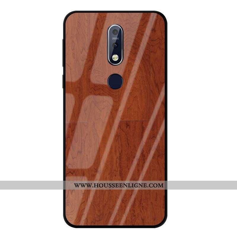Étui Nokia 7.1 Modèle Fleurie Protection Créatif Verre Business Marron
