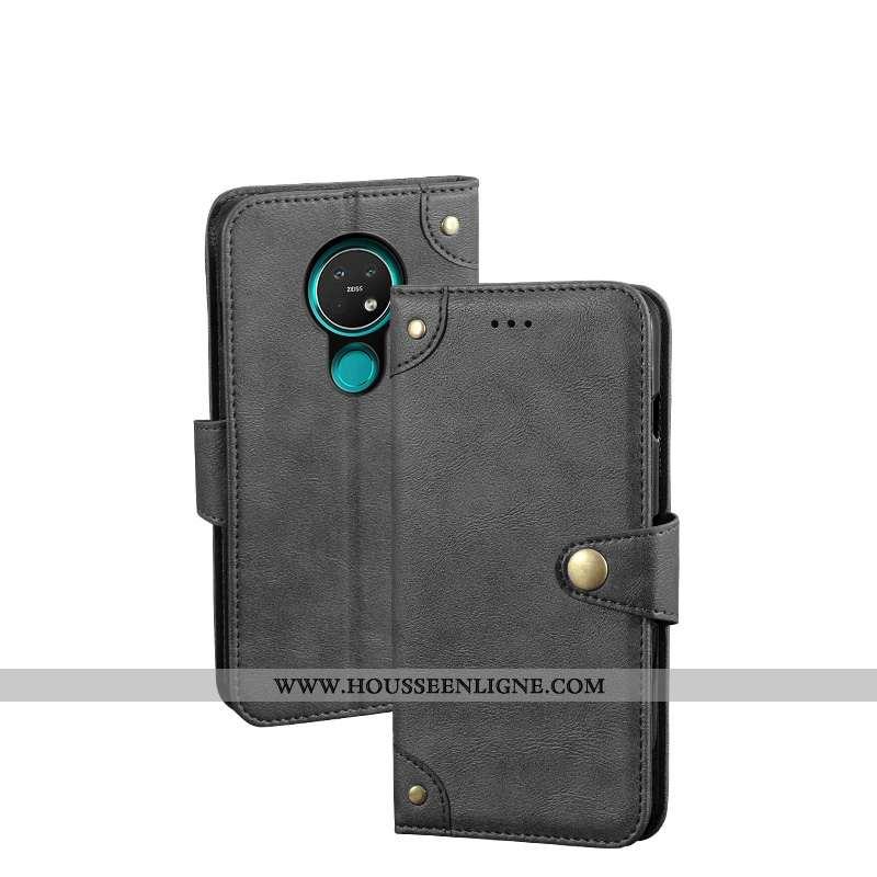 Étui Nokia 7.2 Portefeuille Cuir Protection Housse Coque Noir
