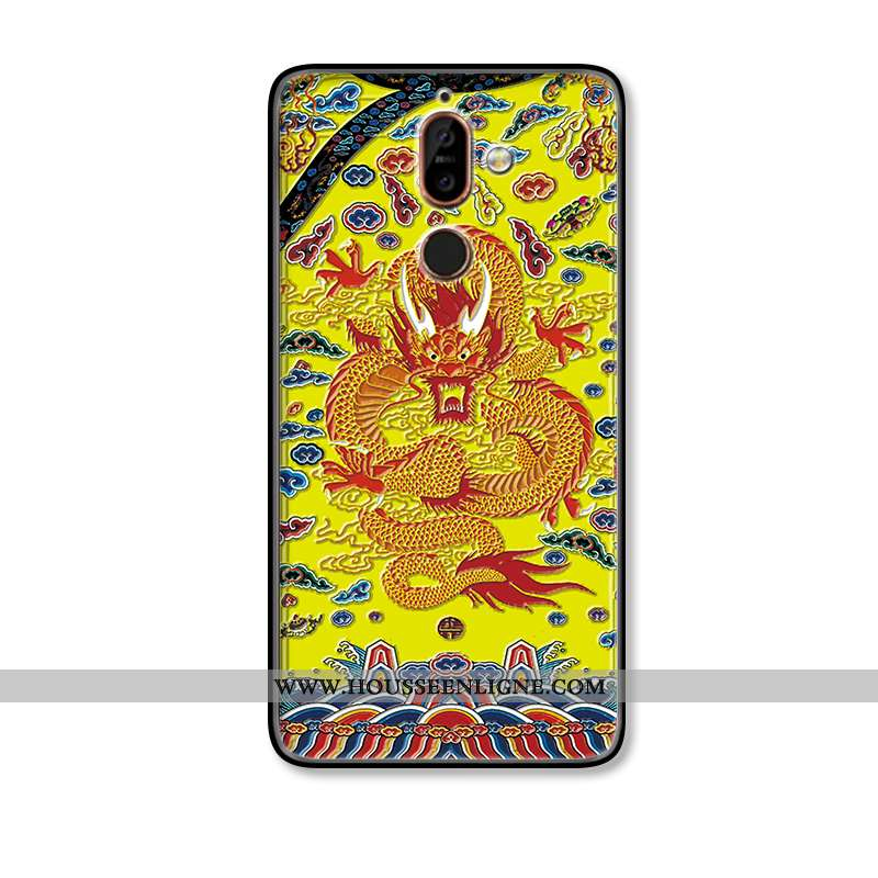 Étui Nokia 7 Plus Modèle Fleurie Silicone Protection Jaune Dragon Gaufrage