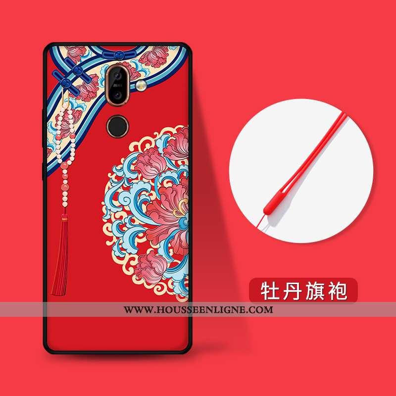 Étui Nokia 7 Plus Personnalité Gaufrage Style Chinois Fluide Doux Rouge Incassable Tendance