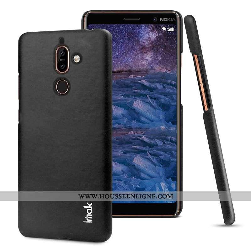 Étui Nokia 7 Plus Protection Cuir Noir Coque Modèle Fleurie Téléphone Portable Simple
