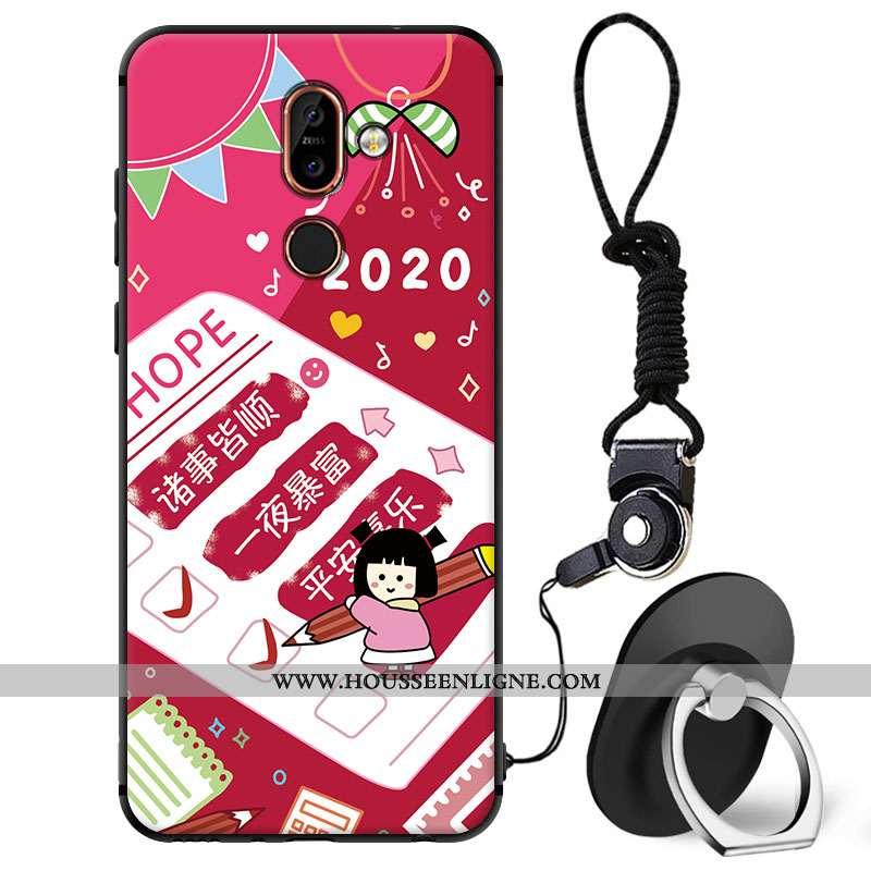Étui Nokia 7 Plus Protection Dessin Animé Coque Charmant Téléphone Portable Rouge