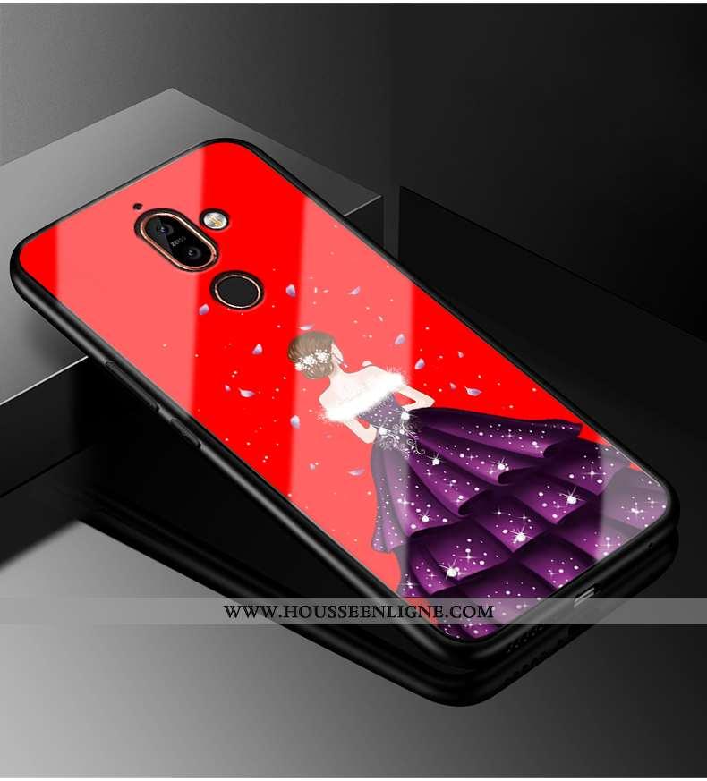 Étui Nokia 7 Plus Tendance Mode Personnalité Coque Rouge Protection Téléphone Portable