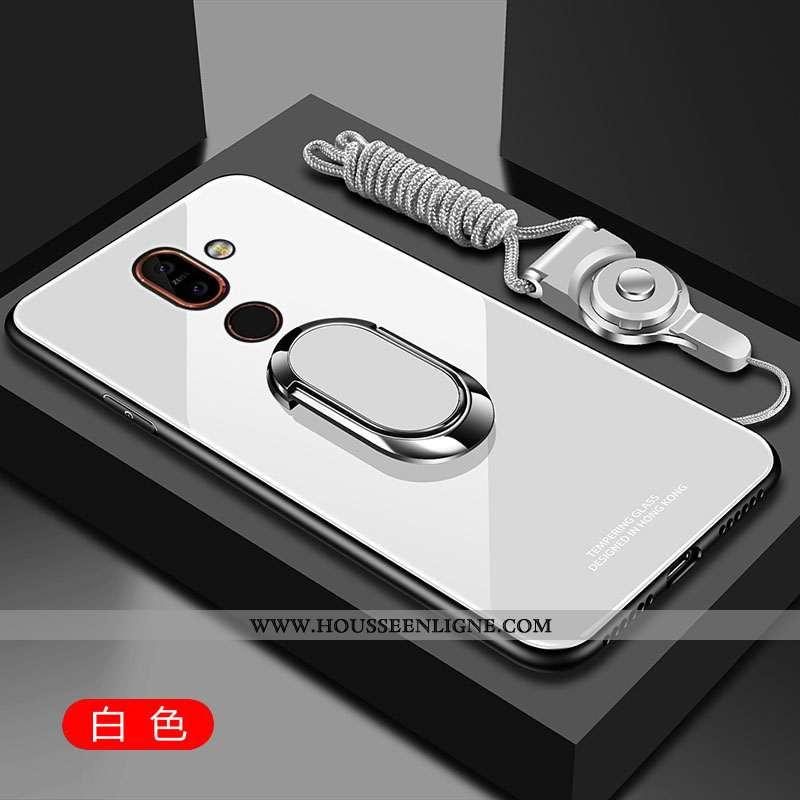 Étui Nokia 7 Plus Verre Fluide Doux Tempérer Coque Protection Silicone Blanche