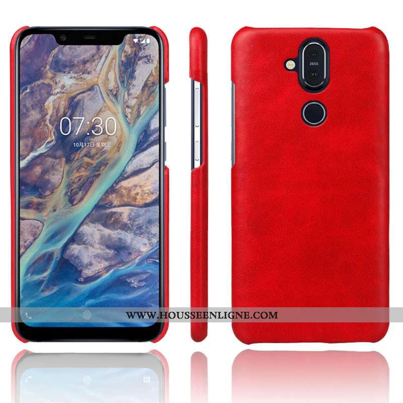 Étui Nokia 8.1 Cuir Protection Qualité Coque Téléphone Portable Rouge
