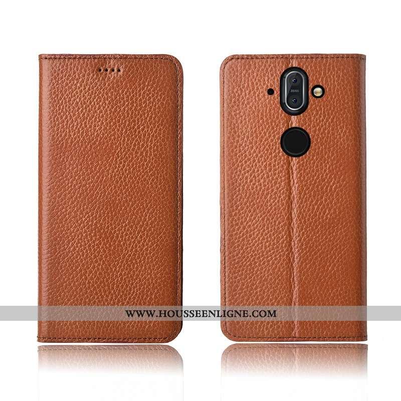 Étui Nokia 8 Sirocco Cuir Fluide Doux Incassable Marron Silicone Tout Compris Haute