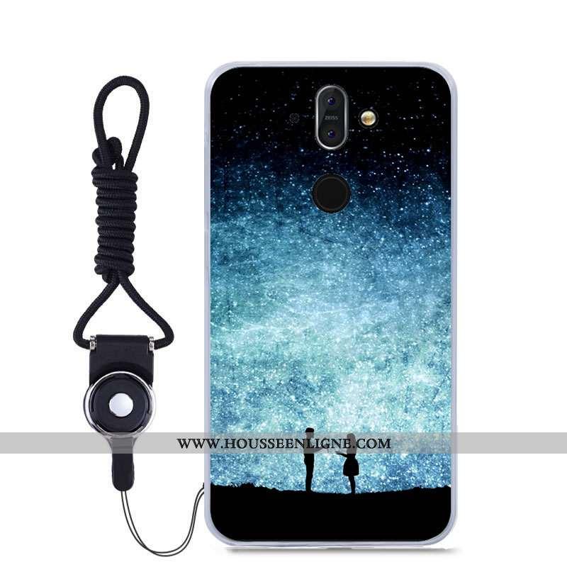 Étui Nokia 8 Sirocco Fluide Doux Téléphone Portable Bleu Couleur Haute Peinture