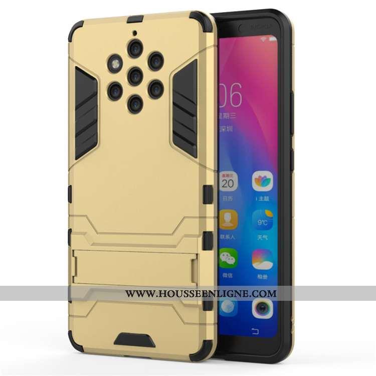 Étui Nokia 9 Pureview Protection Coque Armure Support Or Téléphone Portable Doré