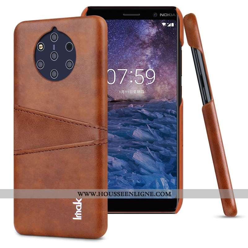 Étui Nokia 9 Pureview Protection Cuir Coque Carte Marron Téléphone Portable