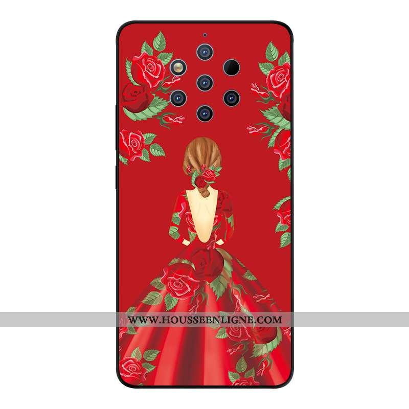 Étui Nokia 9 Pureview Protection Verre Yarn Rouge Créatif Téléphone Portable Coque