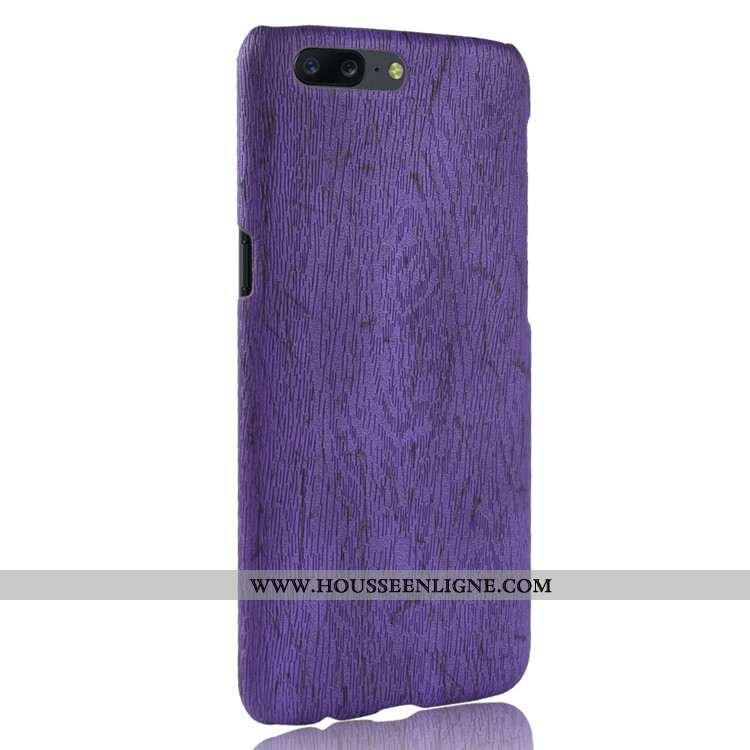 Étui Oneplus 5 En Bois Cuir Coque Incassable Modèle Fleurie Vintage Protection Violet