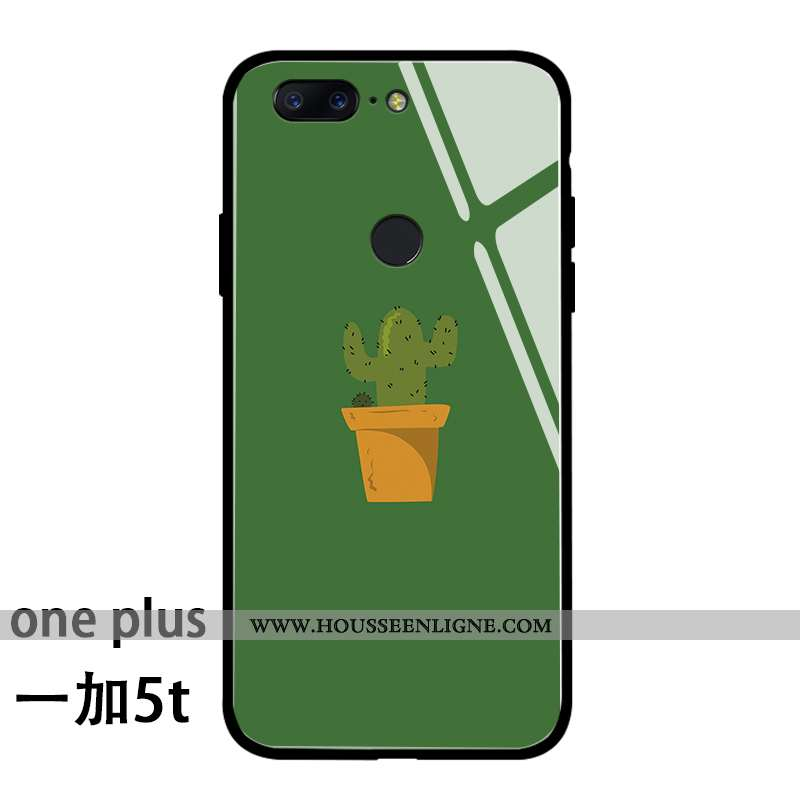Étui Oneplus 5t Mode Protection Personnalité Silicone Téléphone Portable Frais Net Rouge Verte