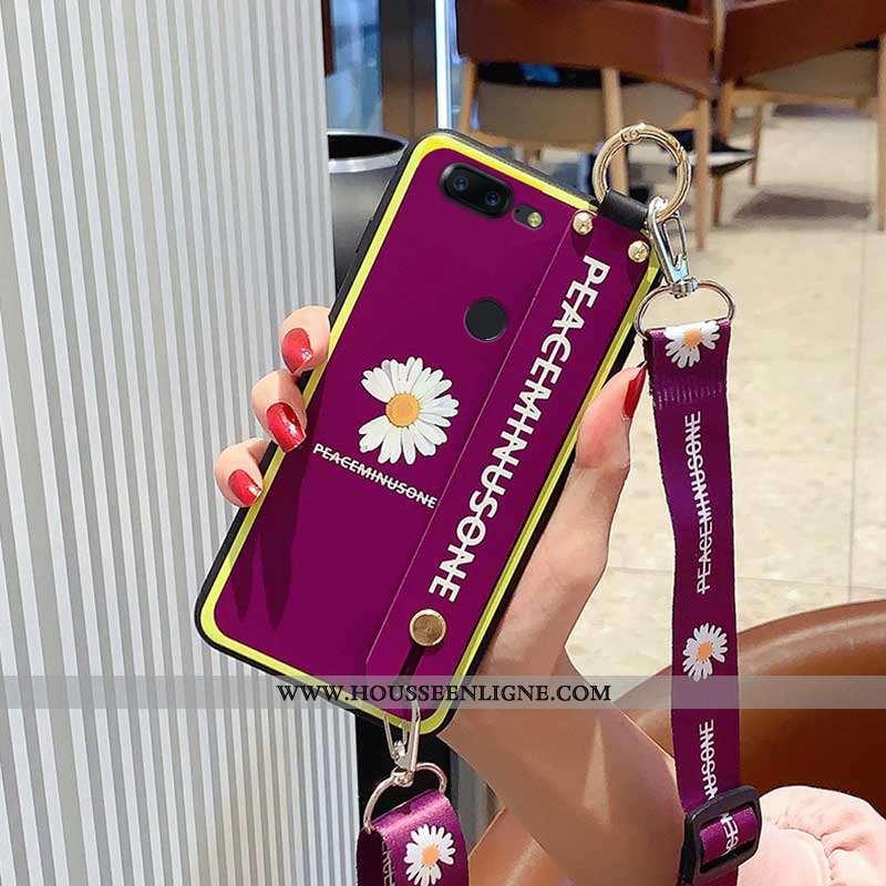 Étui Oneplus 5t Protection Délavé En Daim Support Téléphone Portable Violet Dragon