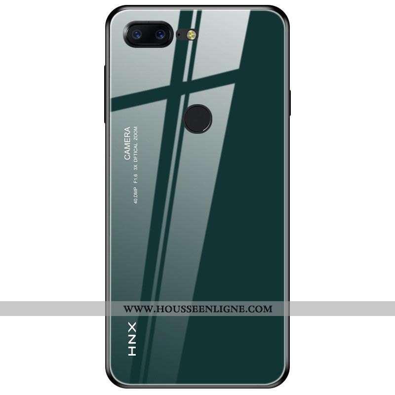 Étui Oneplus 5t Protection Verre Vert Coque Téléphone Portable Tendance Personnalité Verte