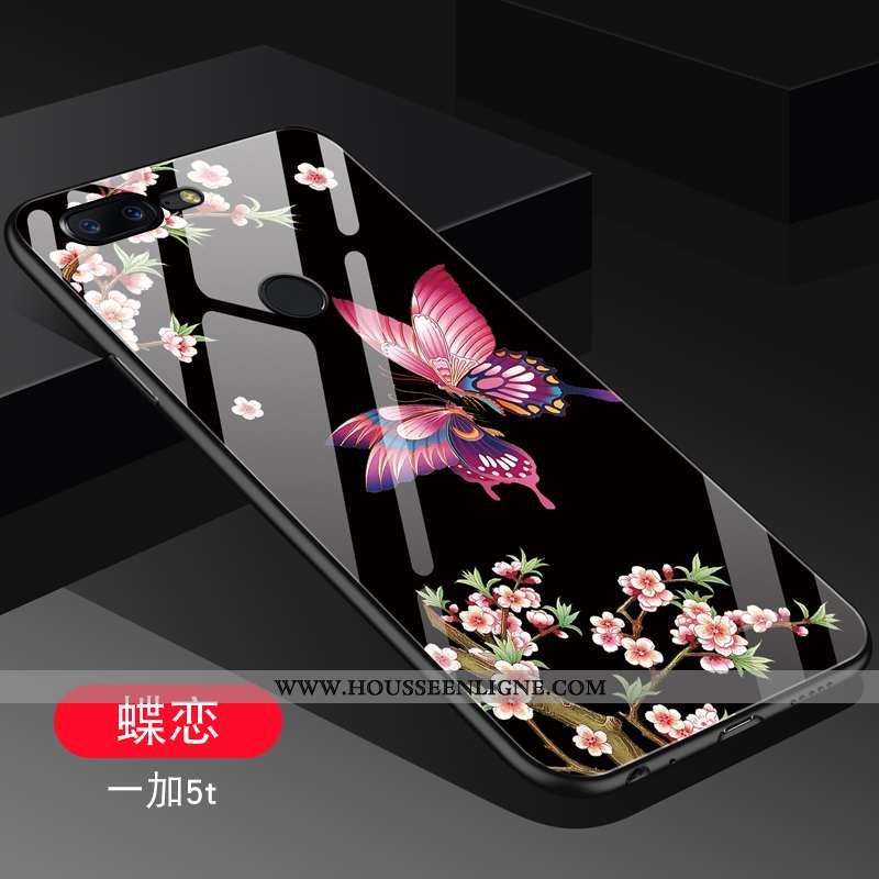 Étui Oneplus 5t Verre Personnalité Tendance Protection Net Rouge Téléphone Portable Noir