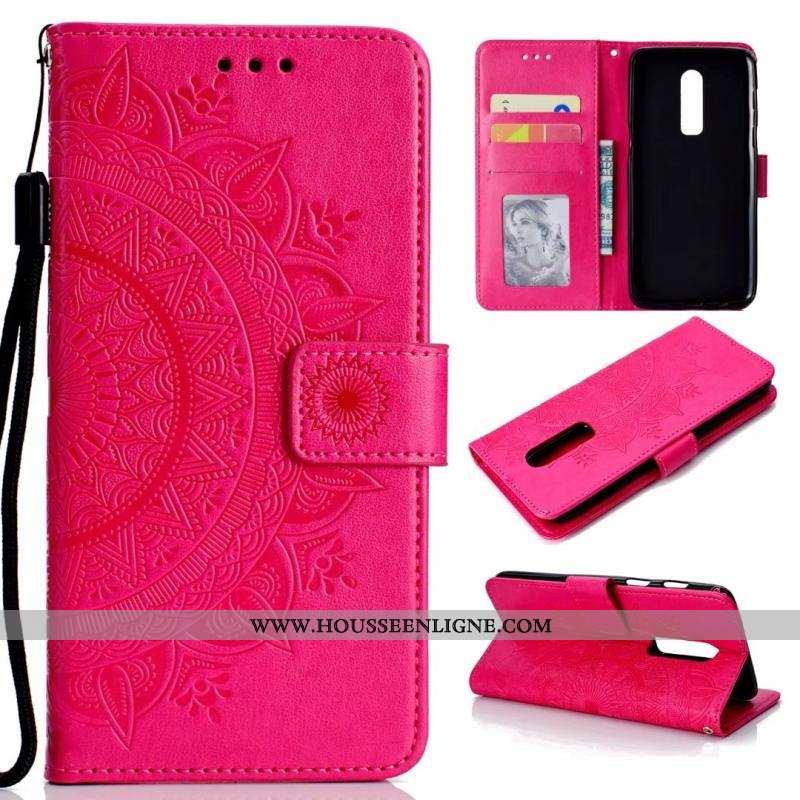 Étui Oneplus 6 Fluide Doux Cuir Téléphone Portable Sac Carte Clamshell Coque Rose