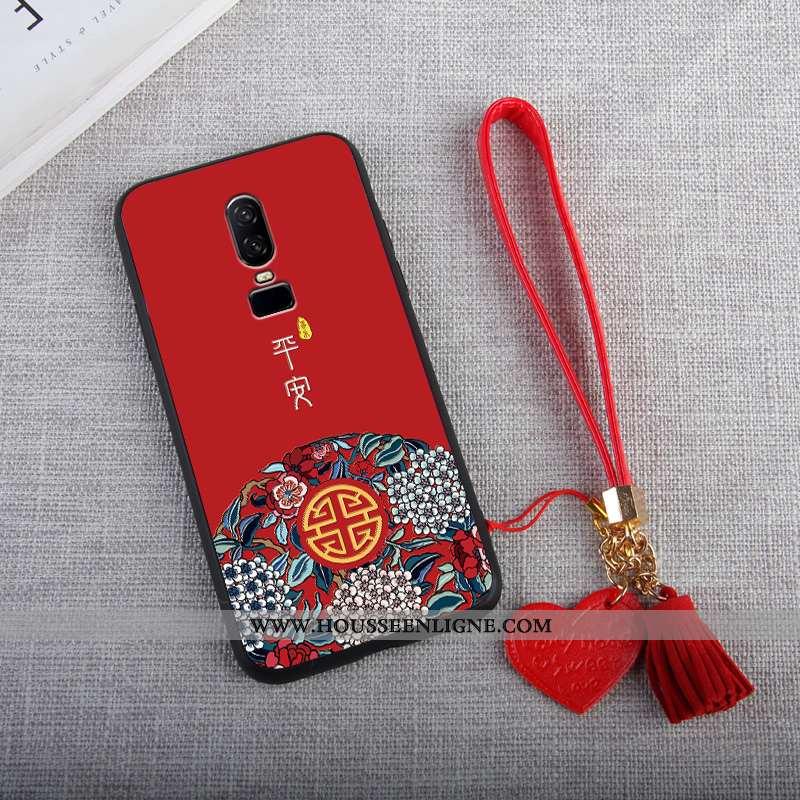 Étui Oneplus 6 Ornements Suspendus Personnalité Rouge Amour Téléphone Portable Incassable Tout Compr