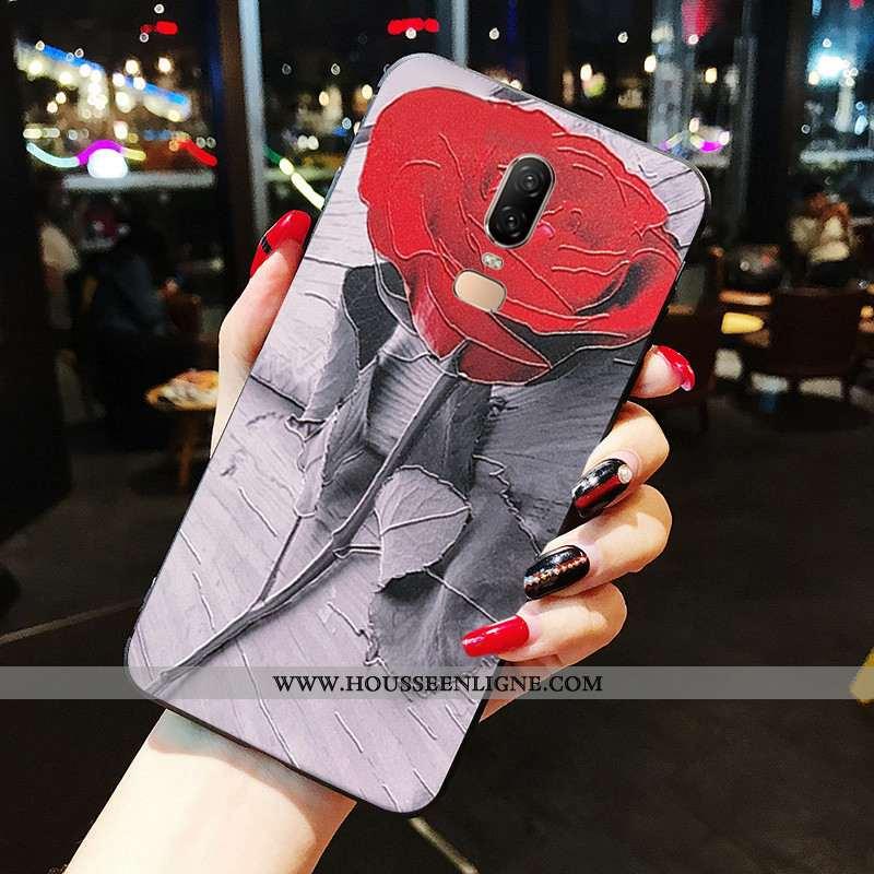 Étui Oneplus 6 Protection Fluide Doux Téléphone Portable Incassable Tout Compris Rouge